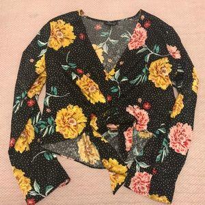 Black floral Topshop shirt